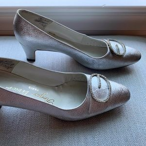 Roger Vivier Silver Pumps with Jeweled Buckles